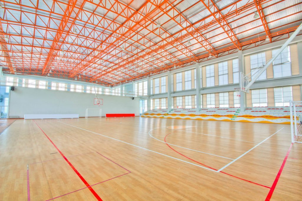 Indoor sports complex basketball courts